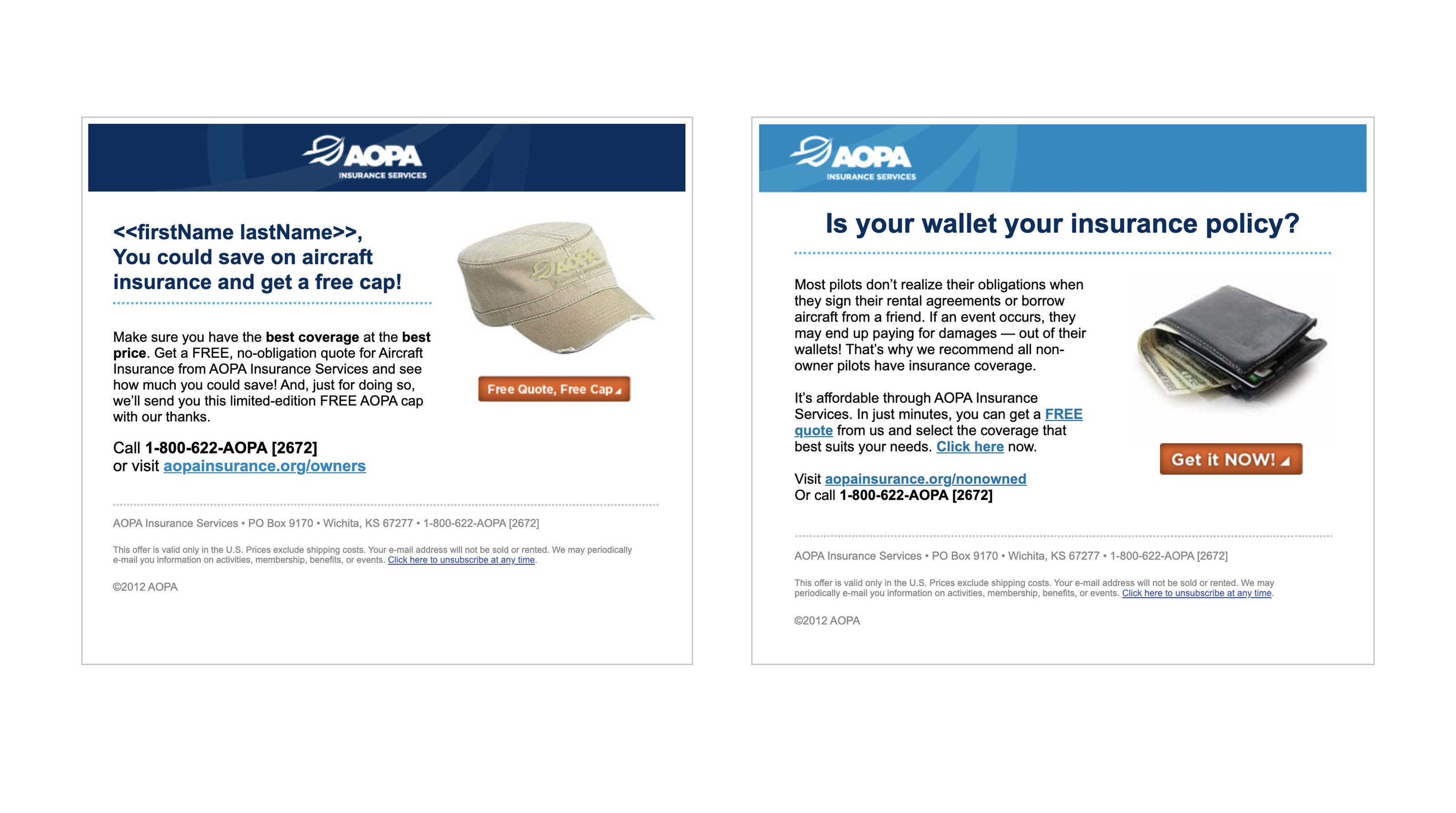 AOPA Insurance Services HTML emails